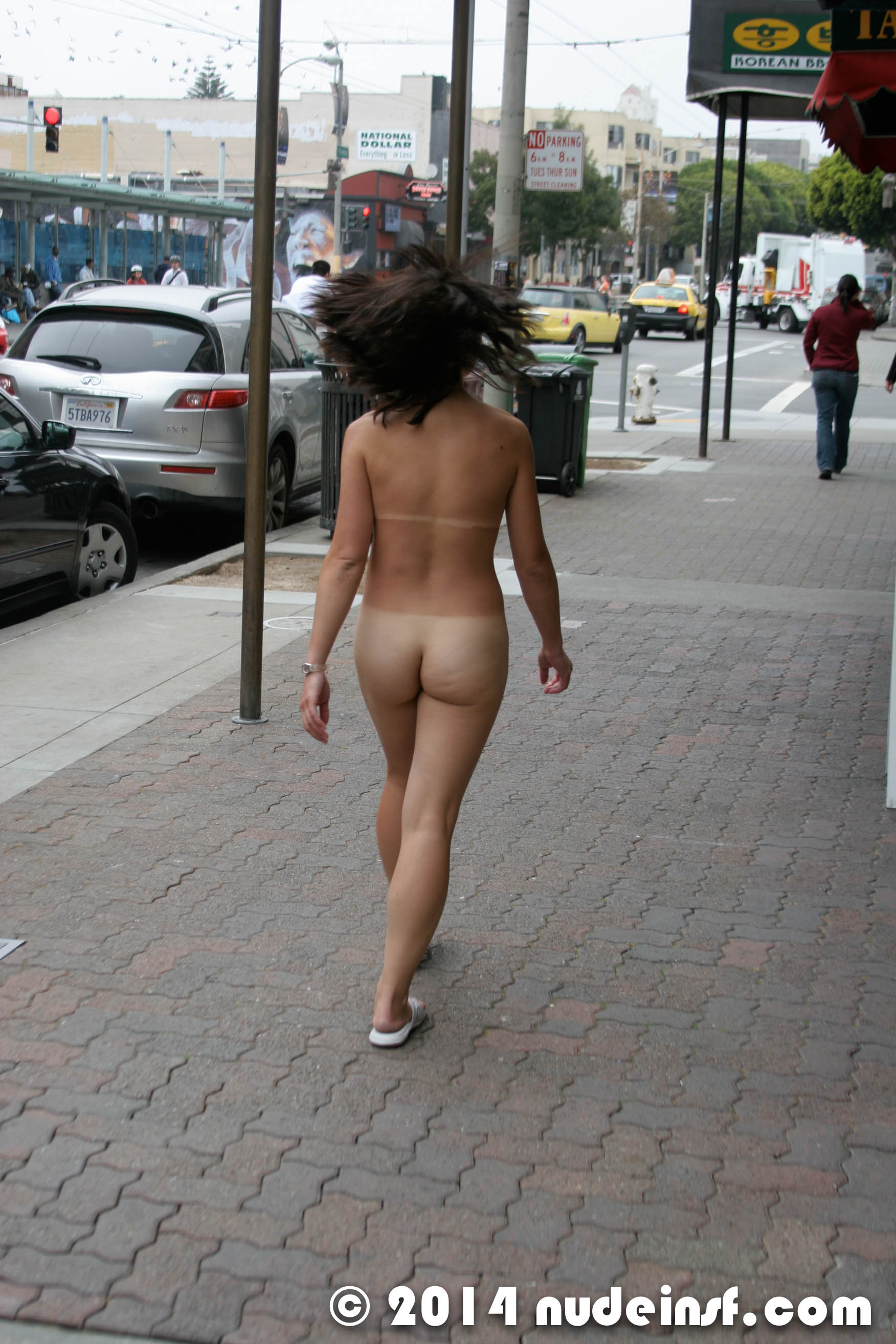 Clean shaven naked in public